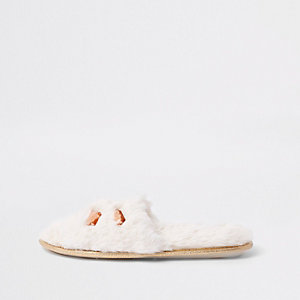 Cream faux fur embellished mules