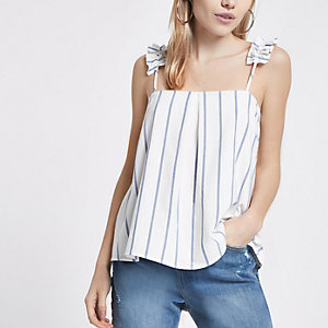 Petite cream stripe ruffle shoulder cami top