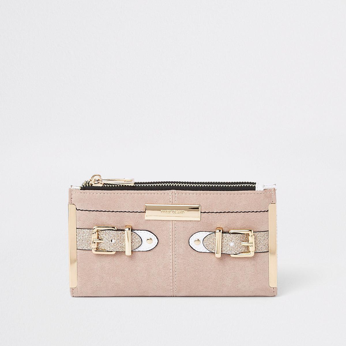 Beige foldout buckle glitter purse