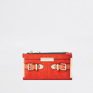 Portefeuille à rabat orange avec boucle