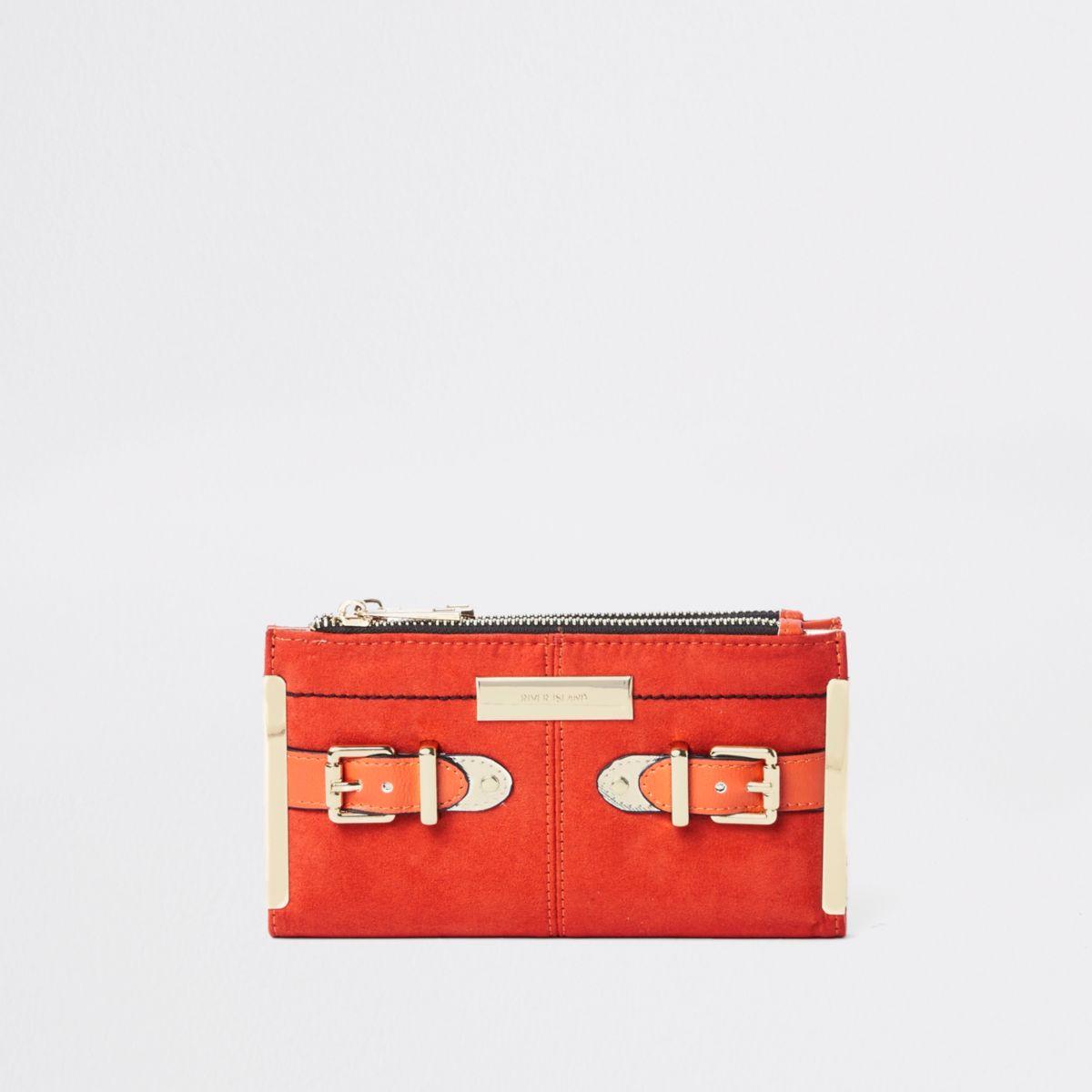 Orange buckle fold out purse