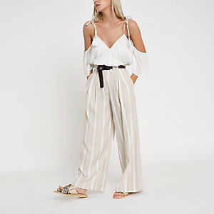 Petite beige stripe belted  wide leg trousers