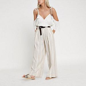 Pantalon large Petite beige rayé avec ceinture