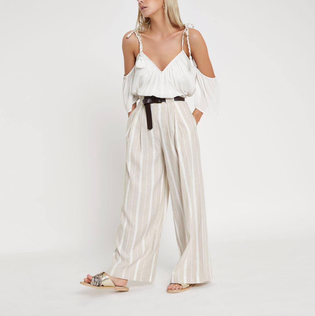 Petite beige stripe belted  wide leg trousers