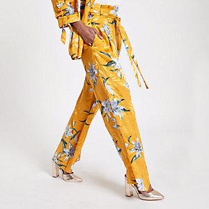 RI Petite - Gele gebloemde broek met wijde pijpen