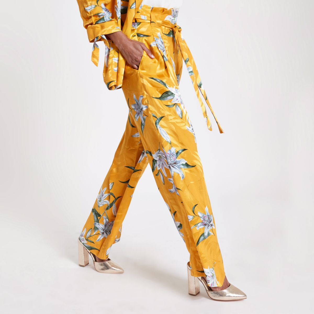 Petite yellow floral wide leg pants