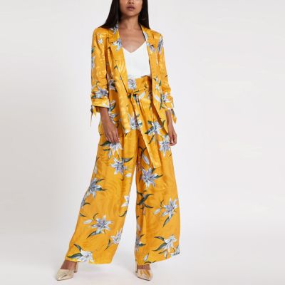 Floral Yellow Wide Leg Trousers