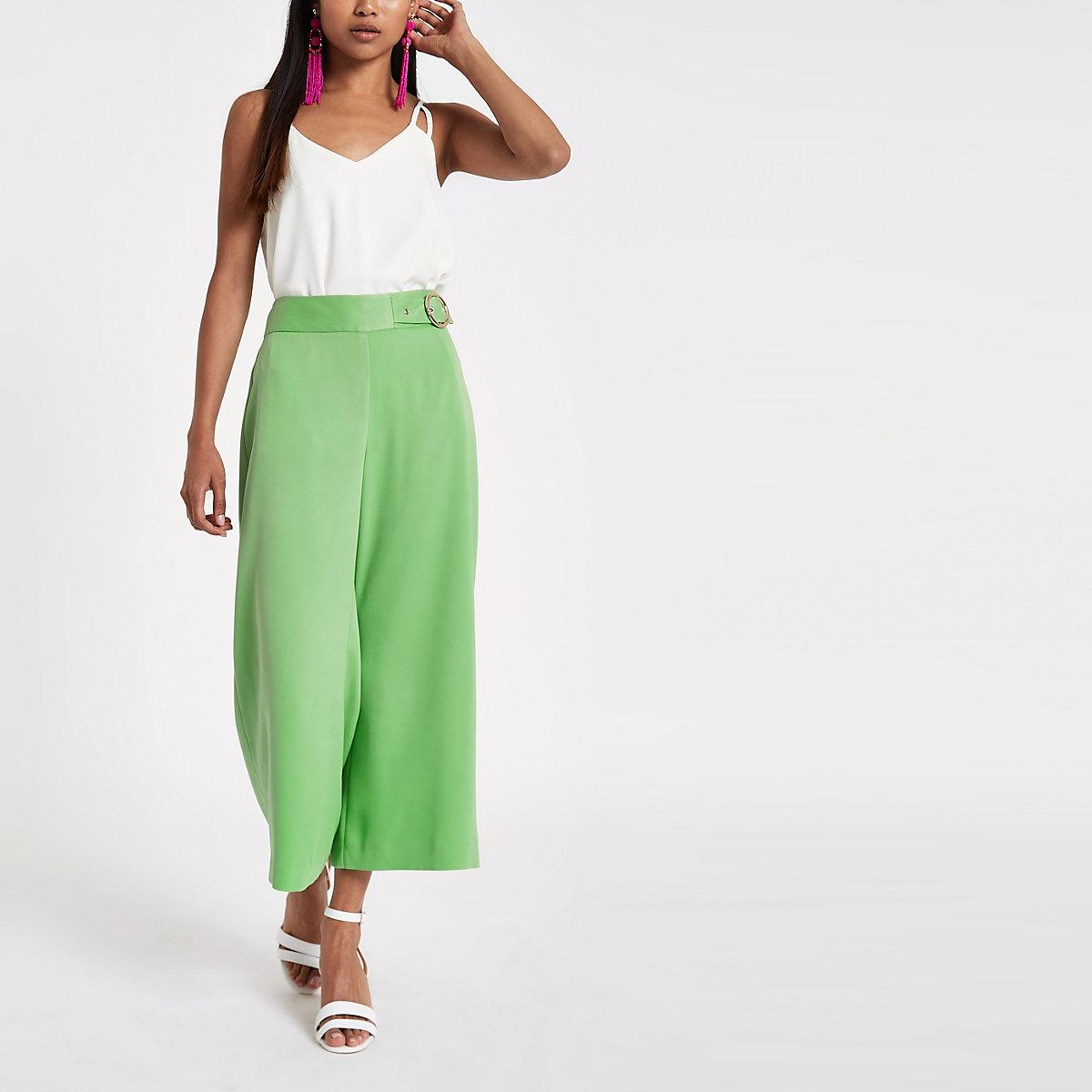 Petite green wide leg culottes