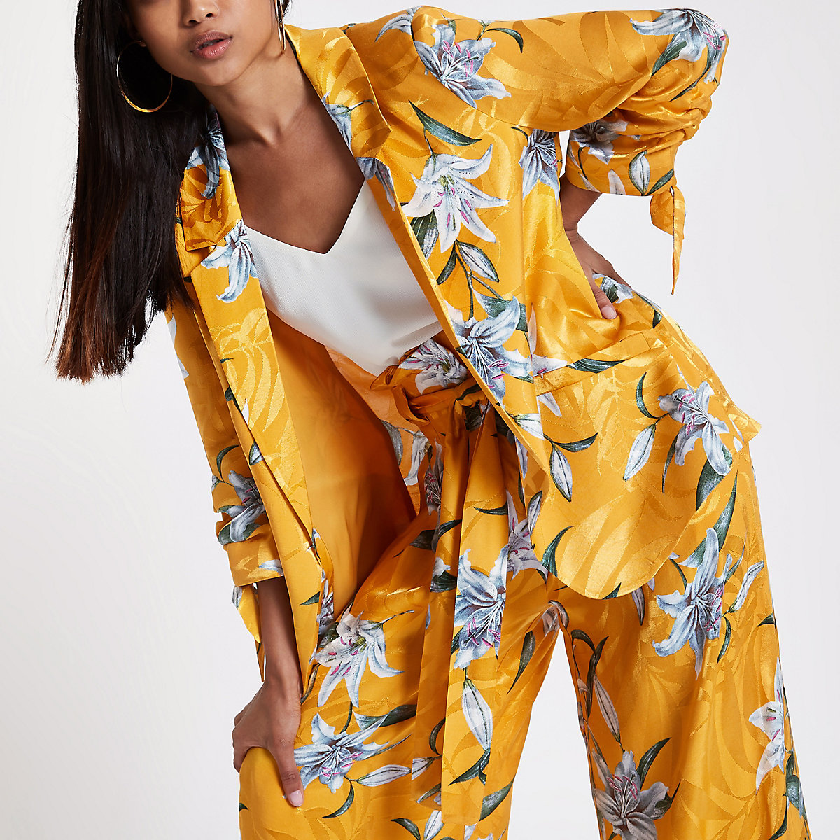 Petite yellow floral rouche sleeve blazer