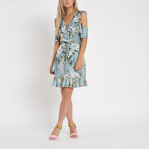 Petite blue floral wrap tea dress