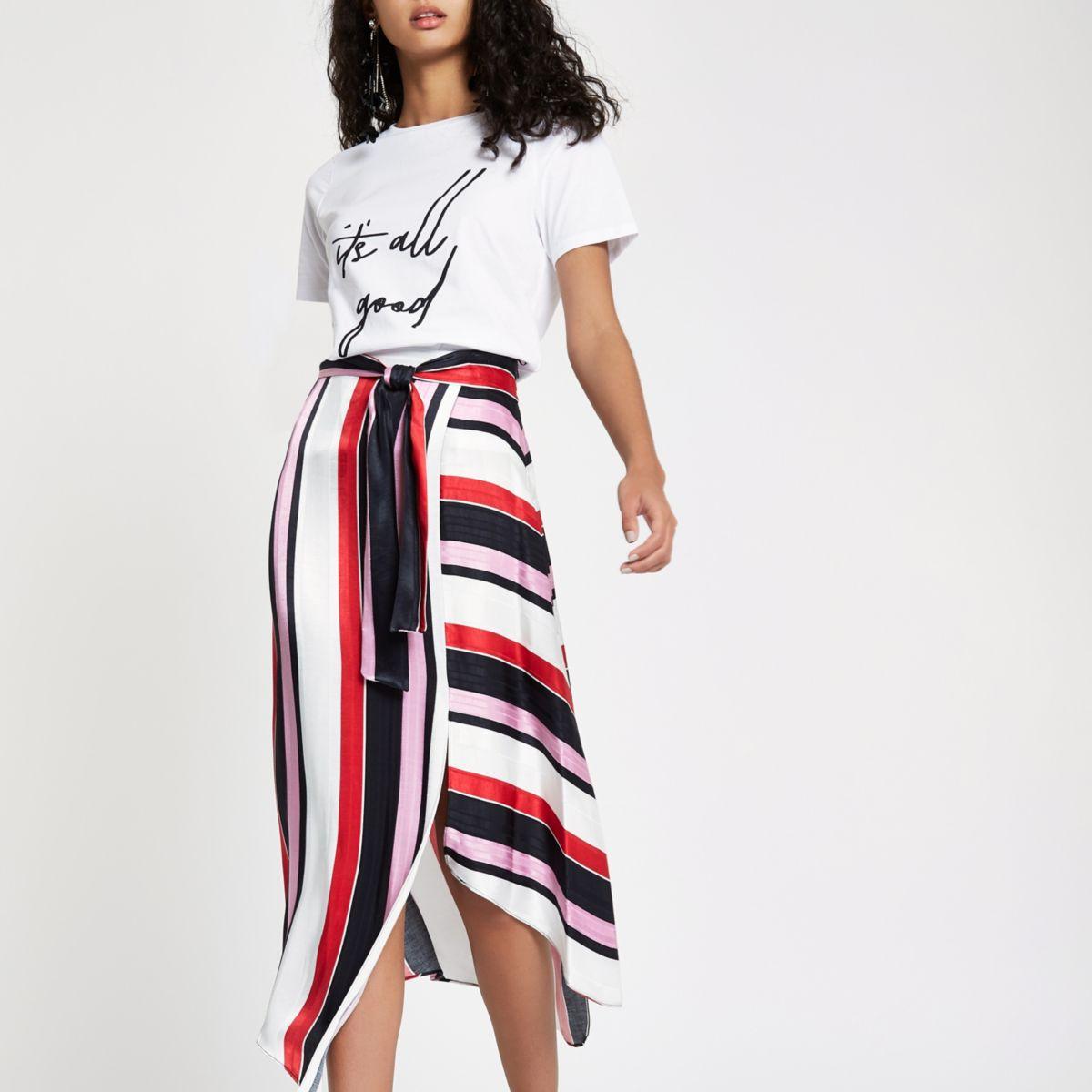 Red stripe tie waist asymmetric midi skirt
