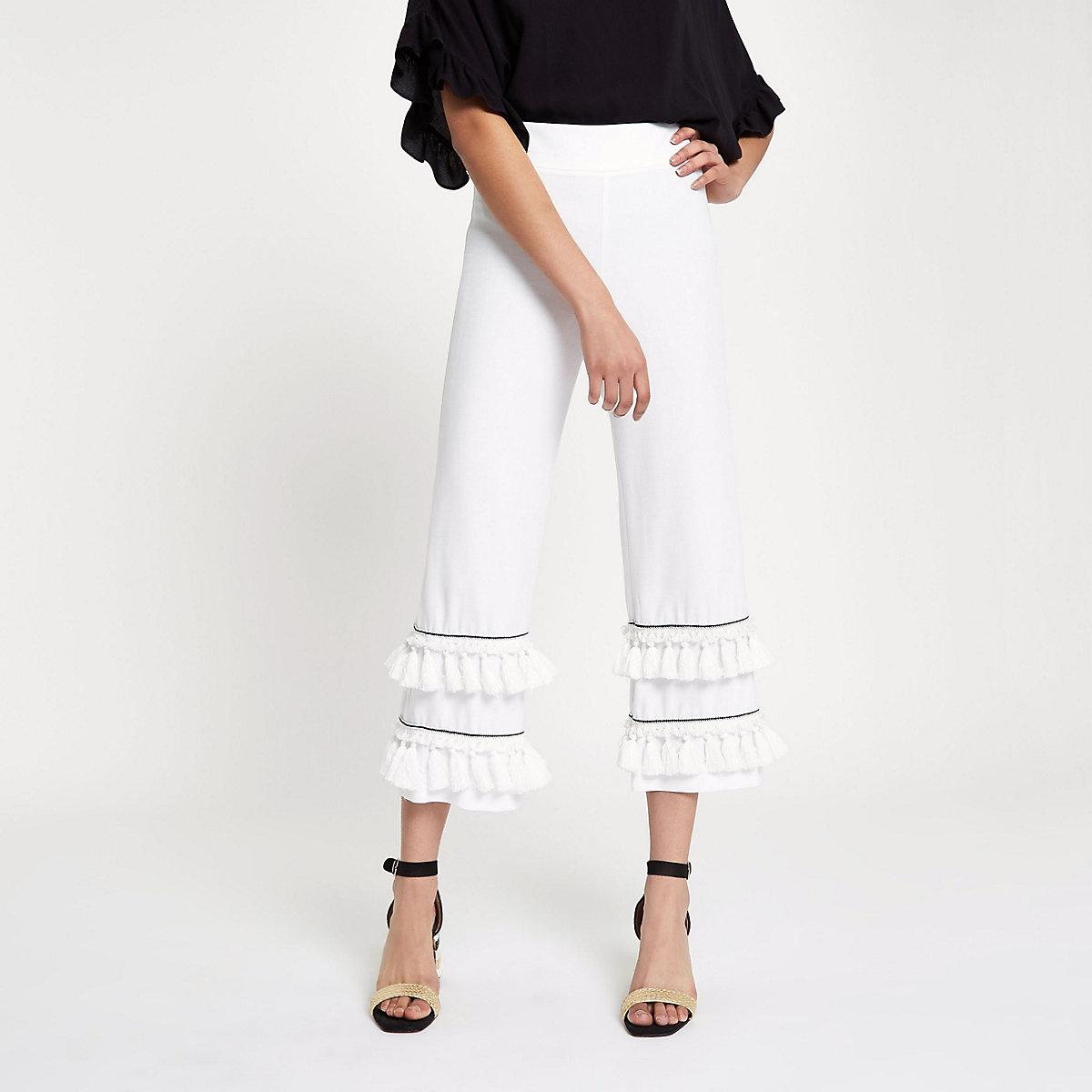 White tassel fringe wide leg crop trousers