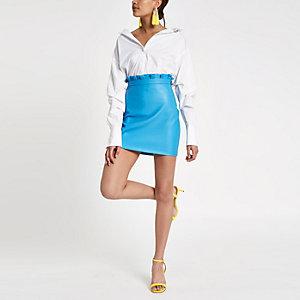 Mini-jupe bleue à taille froncée