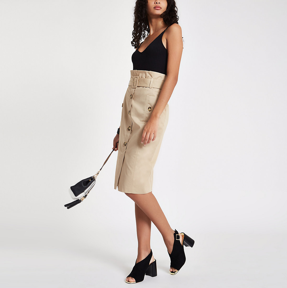 Beige button front belted pencil skirt