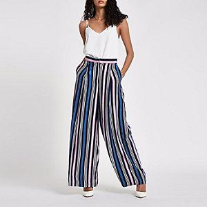 Pantalon large rayé bleu