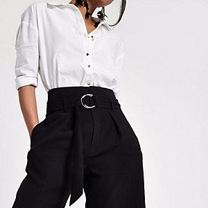Jupe-culotte noire à ceinture à passants