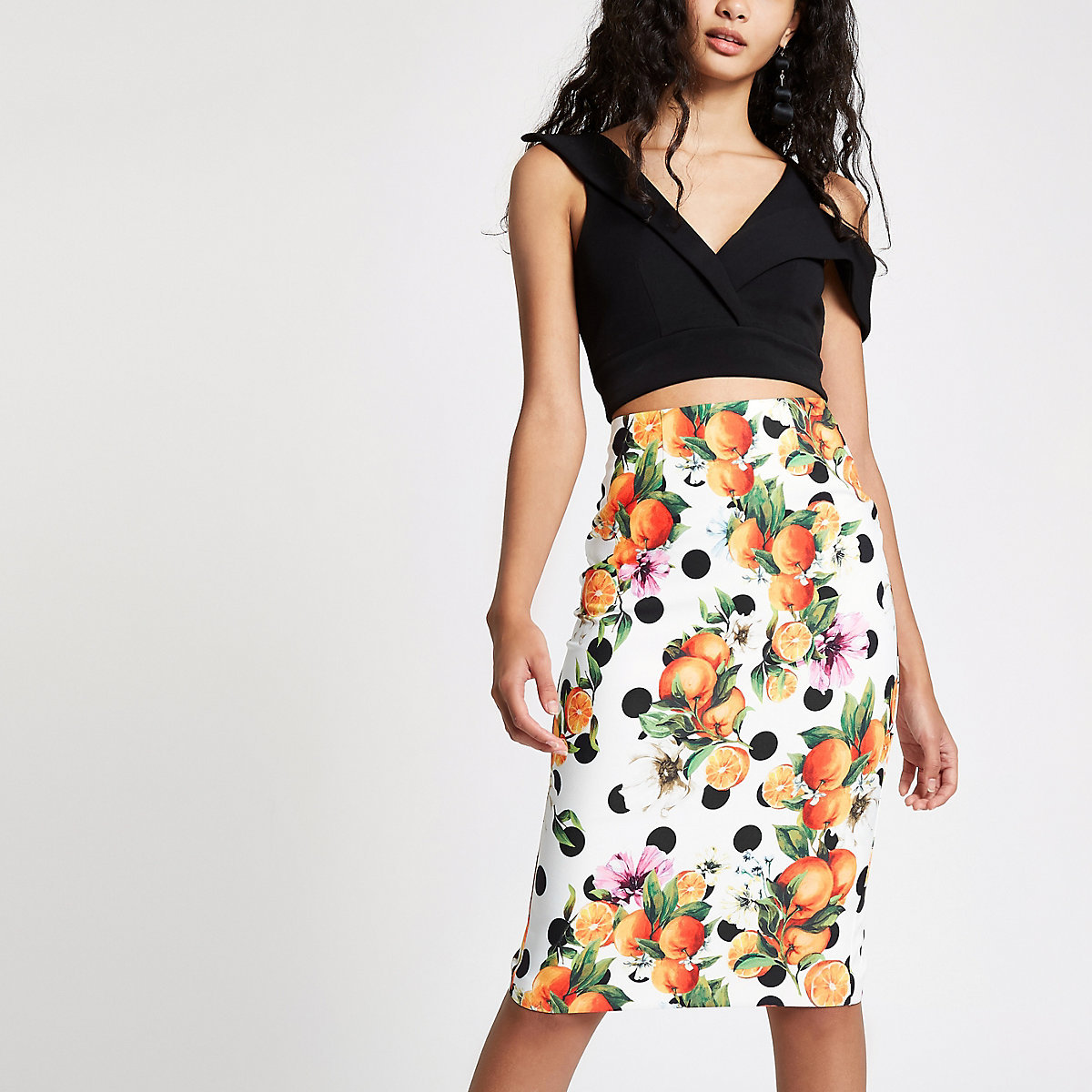 Orange spot print pencil skirt
