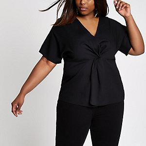 Plus – Schwarzes Kimono-Oberteil mit Zierknoten vorne