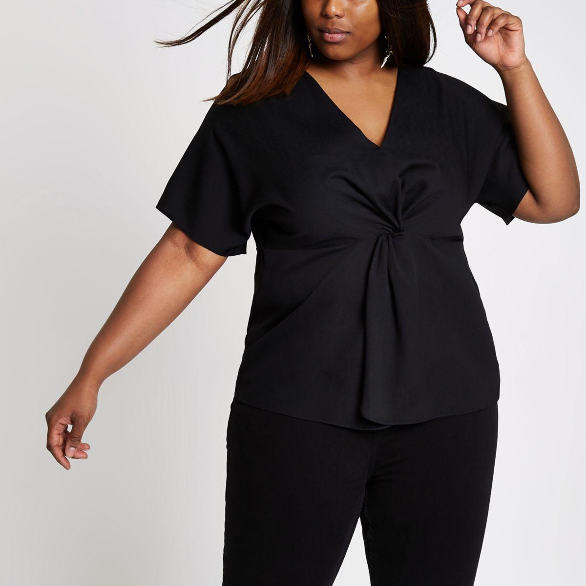 Plus black knot front kimono top