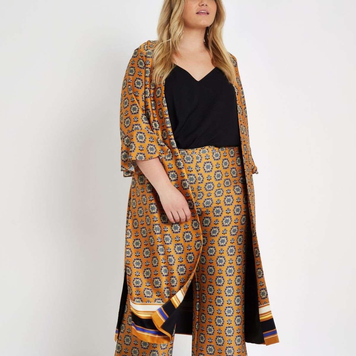 Plus orange print tie waist duster coat