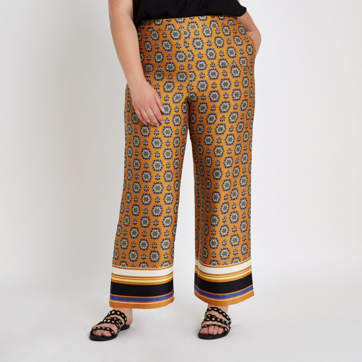Plus orange print wide leg trousers
