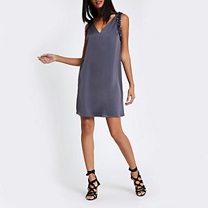 Dark grey frill sleeveless slip dress