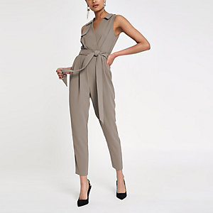 Grey sleeveless tailored jumpsuit