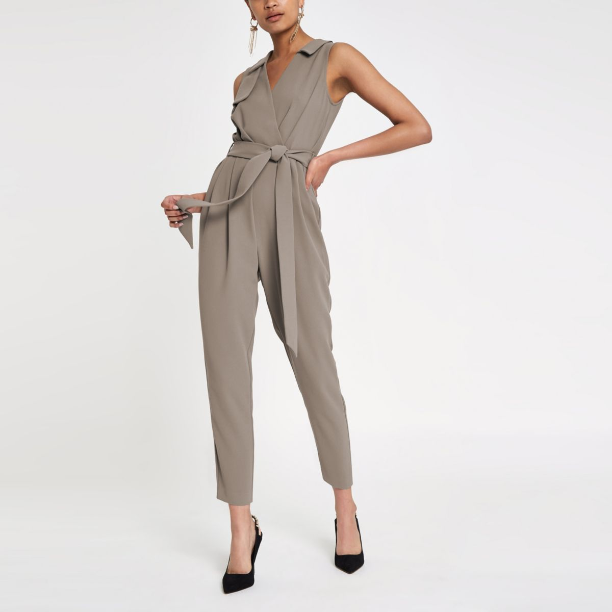 Grijze mouwloze tailored jumpsuit