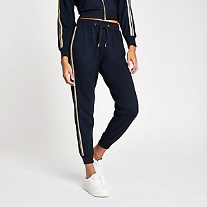 Navy gold tape side joggers