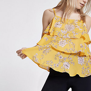 Petite yellow floral tiered frill cami top