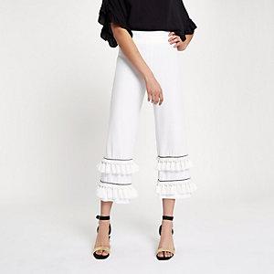 Jupe-culotte blanche à volants pampilles