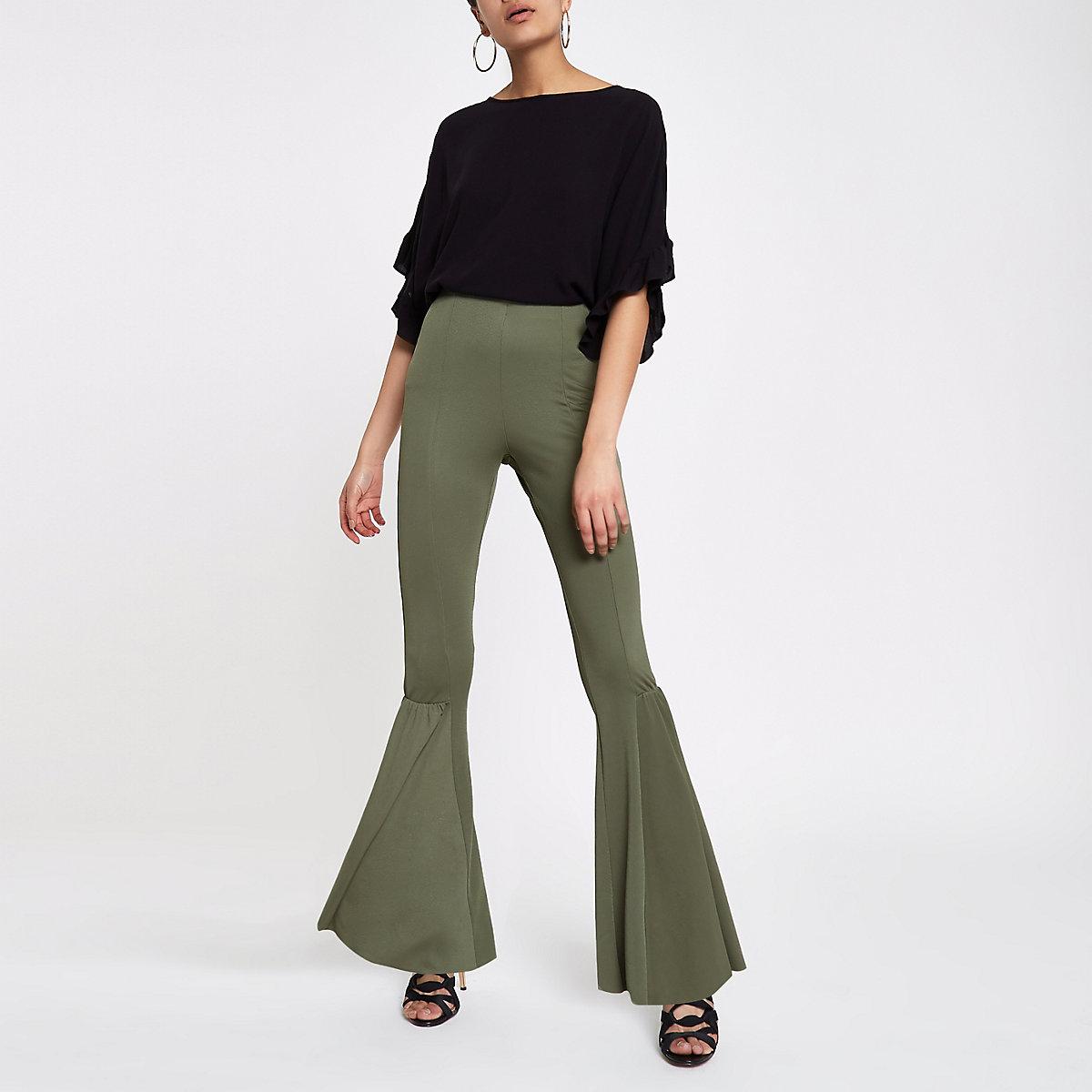 Kaki uitlopende jersey broek met hoge taille