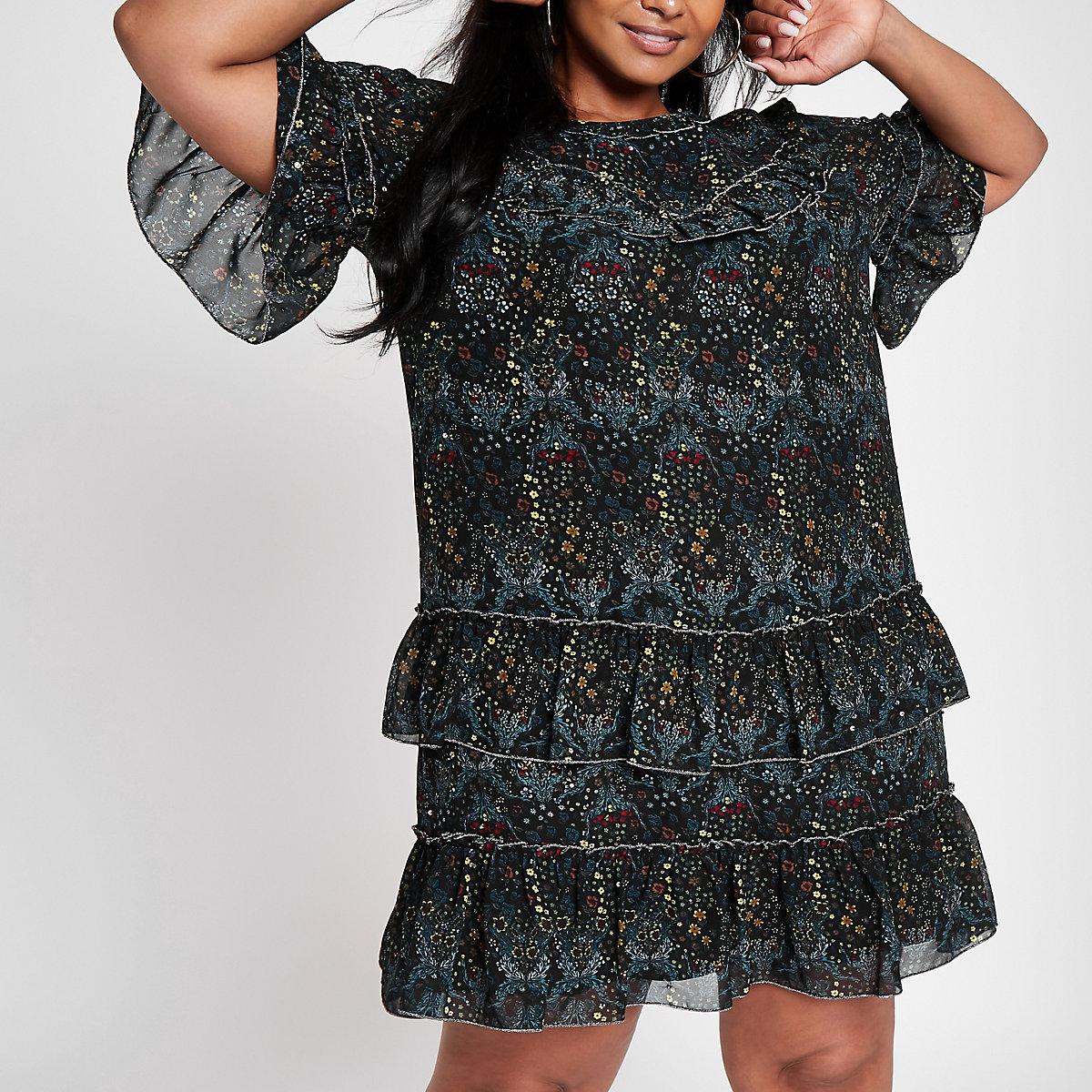 Plus black floral print ruffle dress