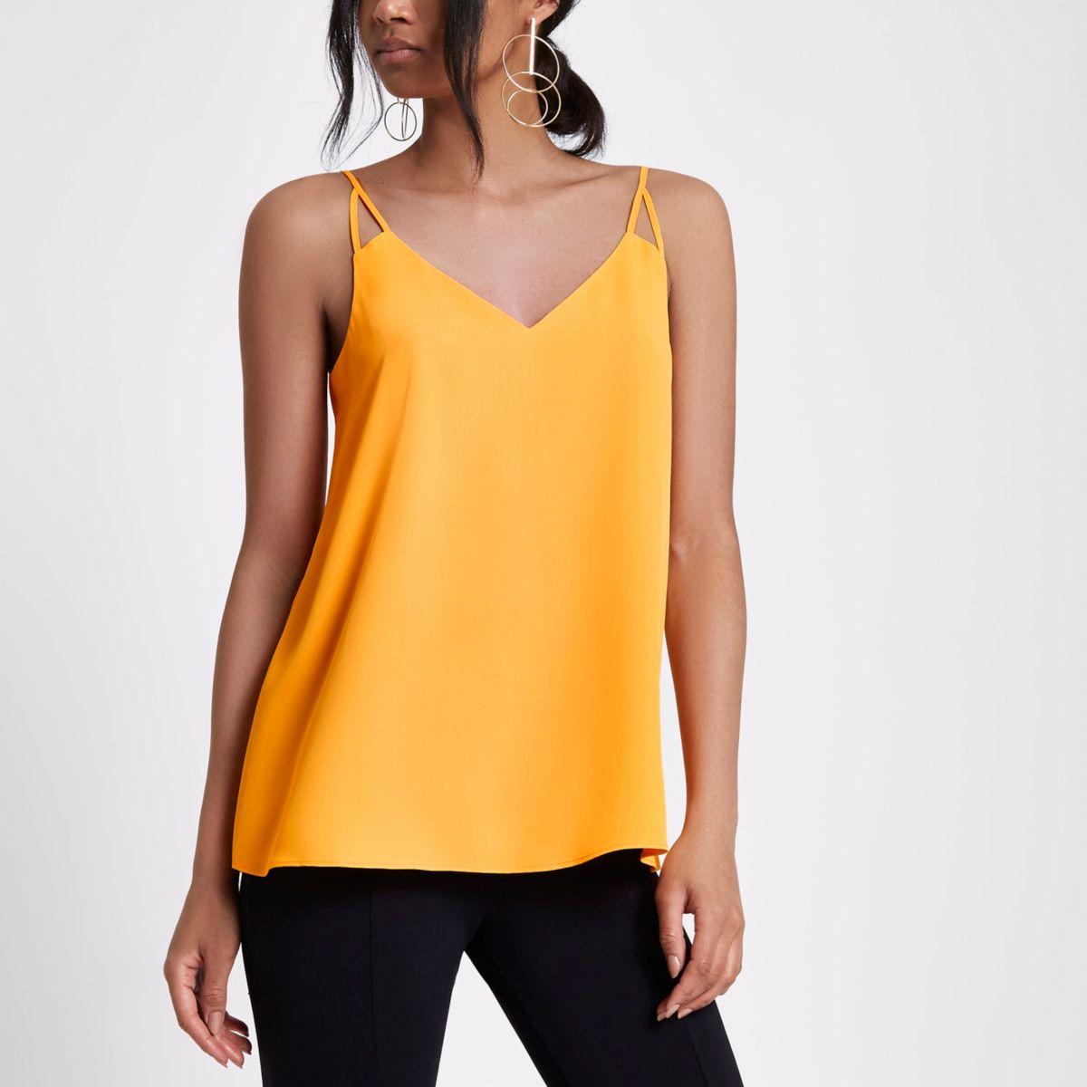 Orange split strap cami top