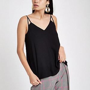 Zwart cami hemdje met V-hals