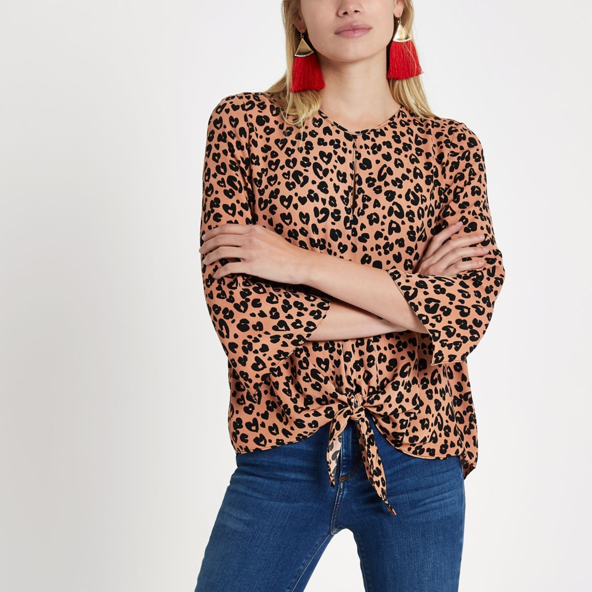Brown leopard print tie front top