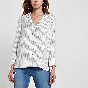 White stripe satin pyjama top