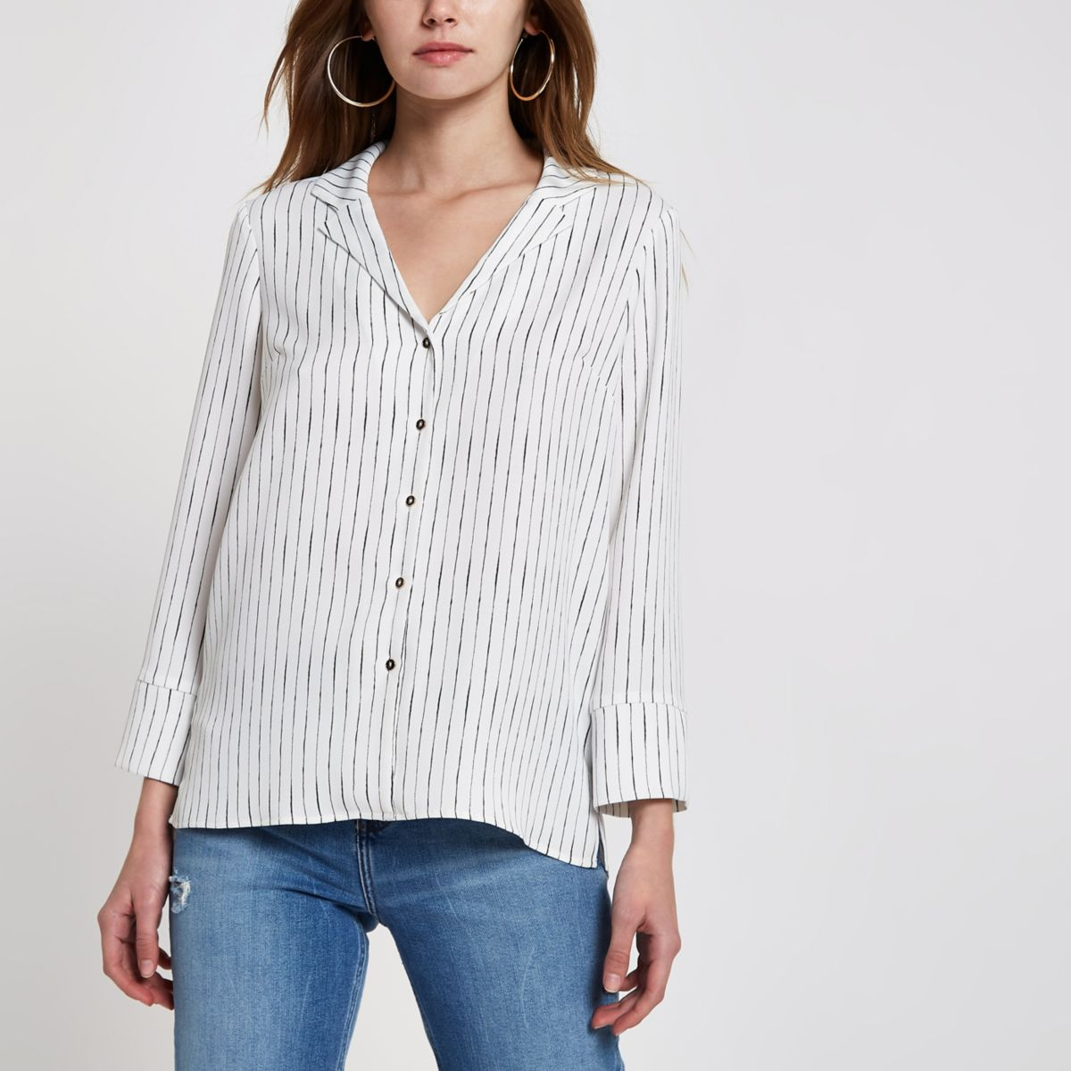 White stripe satin pajama top