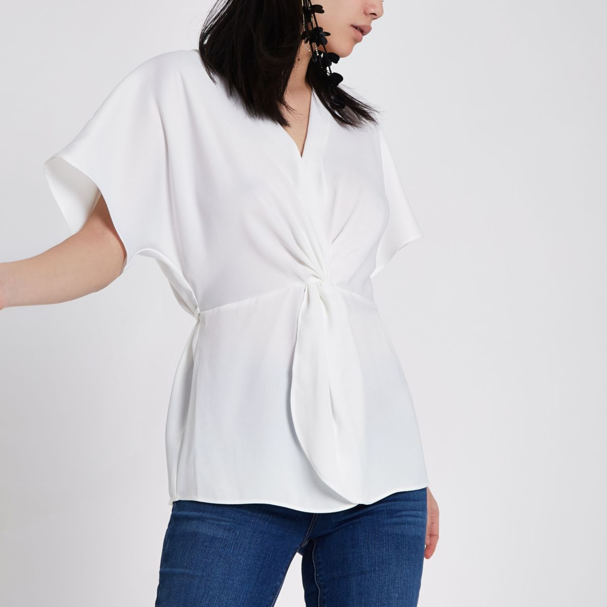 White satin knot front shirt