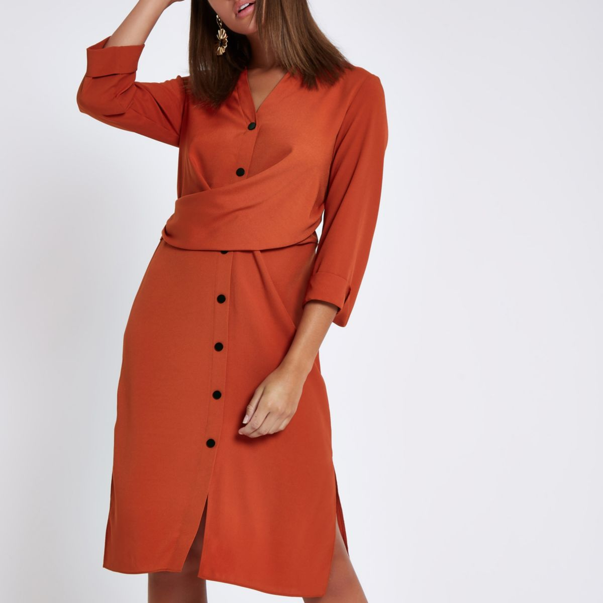 Orange twist front midi shirt dress