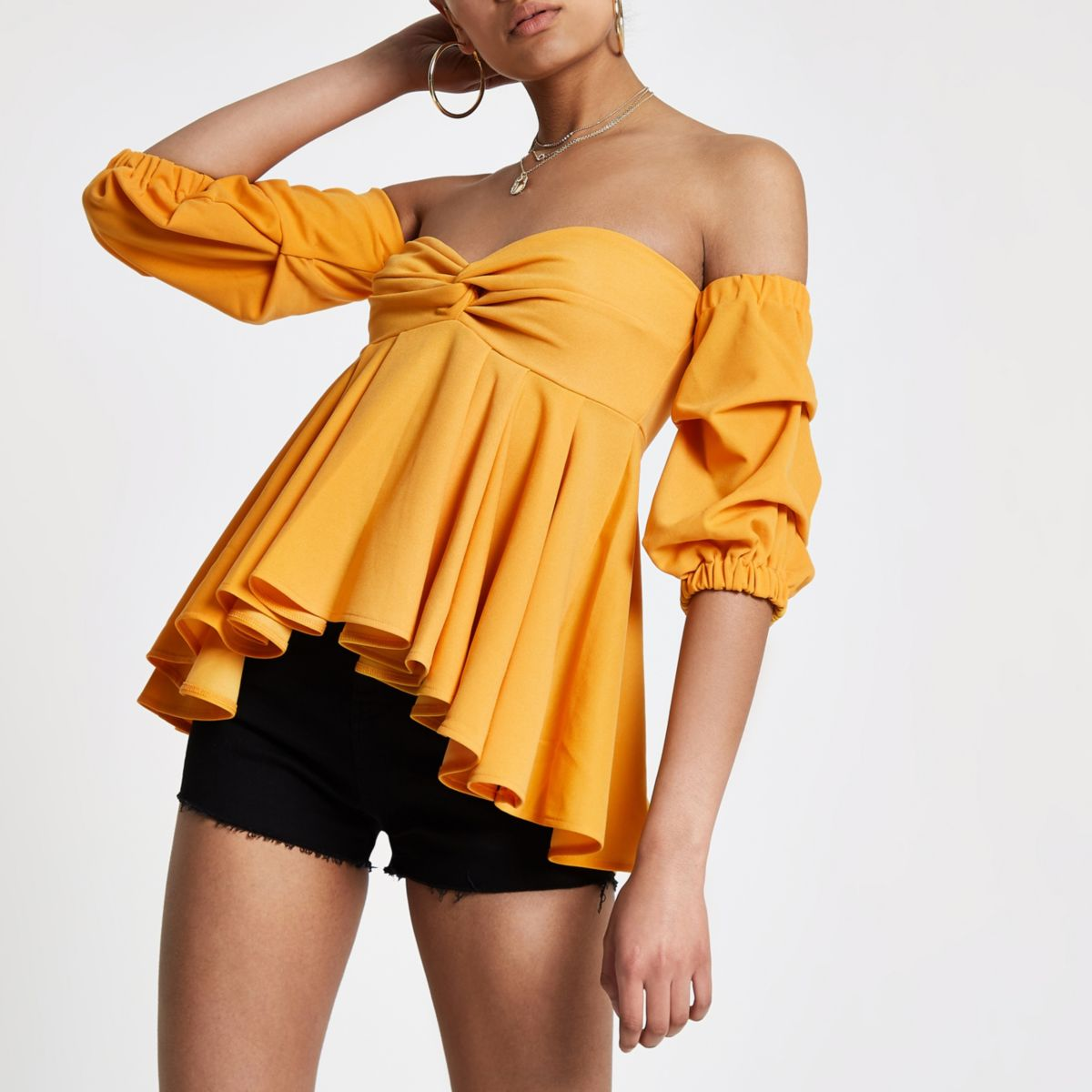 Yellow puff sleeve peplum bardot top