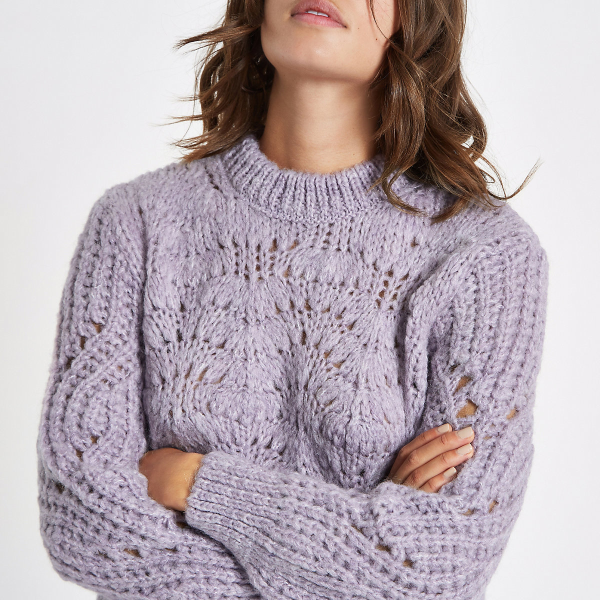 Light purple chunky knit sweater