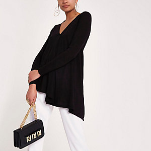 Black drape front knitted top