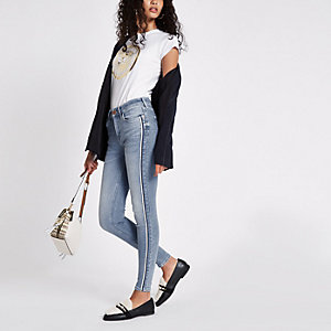 Amelie - Middenblauwe skinny jeans met streep opzij