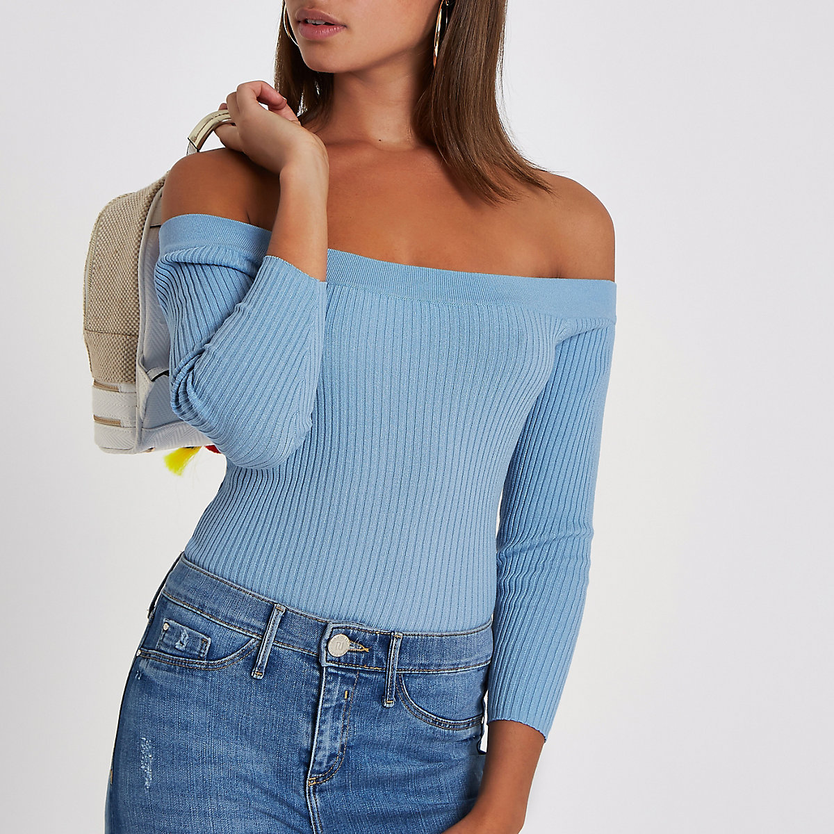 Light blue bardot lace up back top