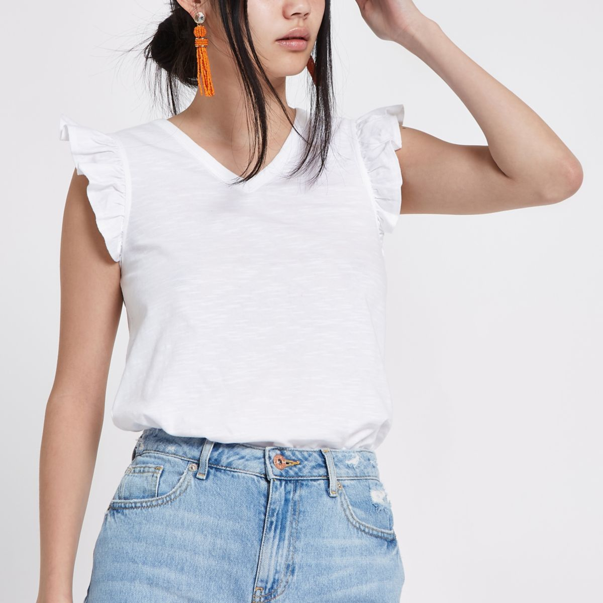 White frill V neck tank top