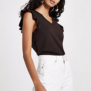Dark grey frill V neck tank top