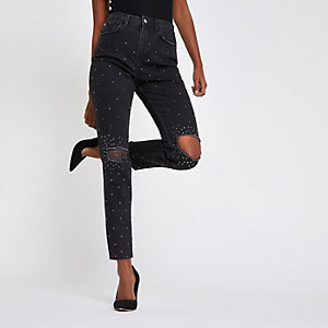 Black Casey embellished ripped slim fit jeans