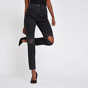 Casey - Zwarte verfraaide ripped slim-fit jeans