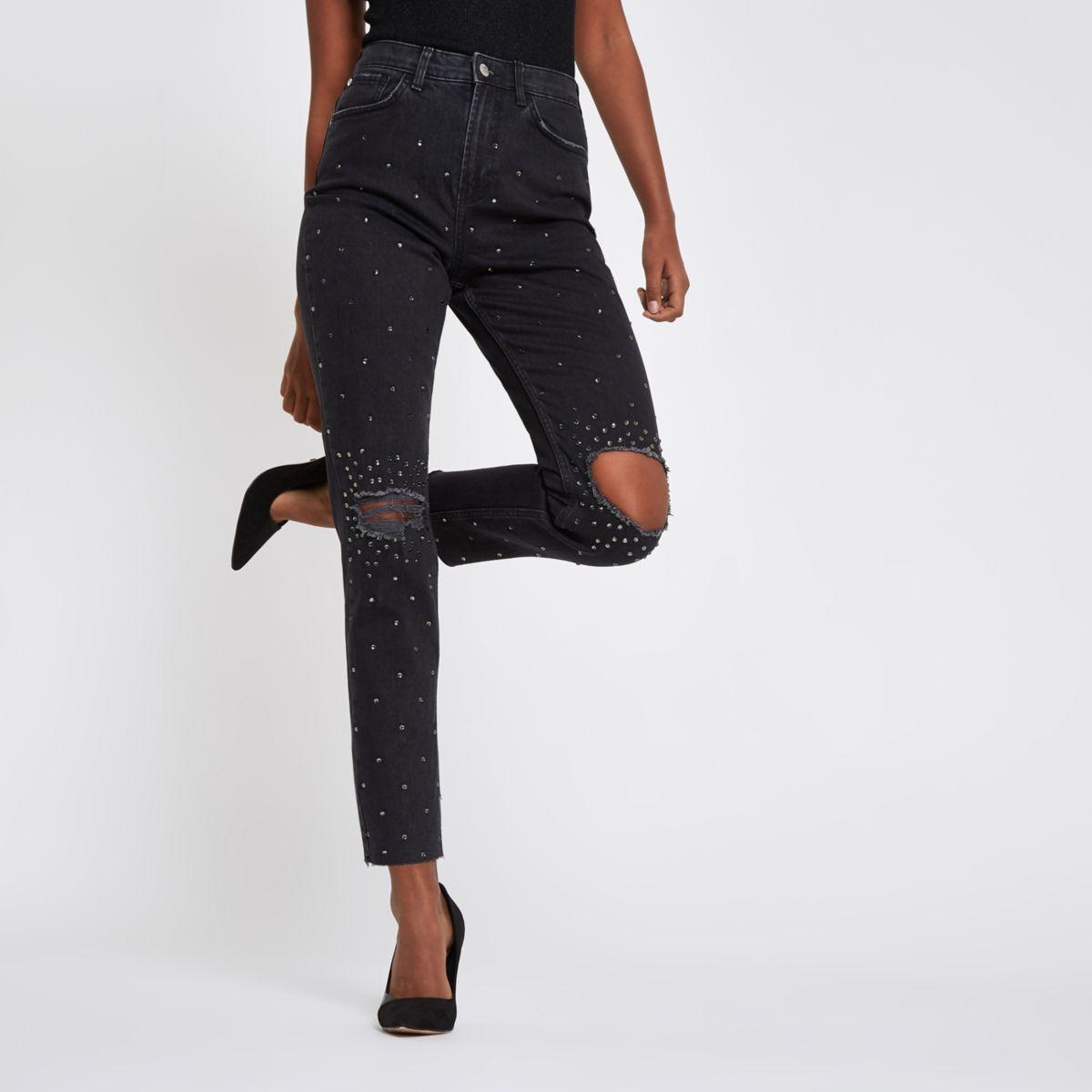 Black Casey embellished ripped slim fit jeans